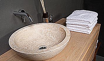 Travertin Tegels Badkamer : Travertine waskommen uniek