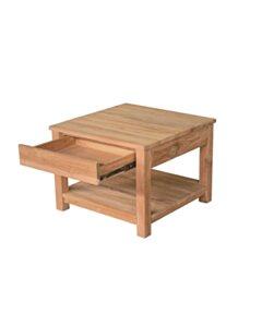 Teak salontafel met lade en onderblad | Vierkant | 50x50x45 - DEV-CT-1L-50-50-45