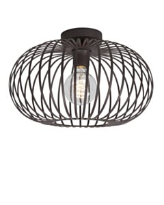 Rotan | Bamboo Hanglamp citrus vorm | Zwart | 45 cm  - small image