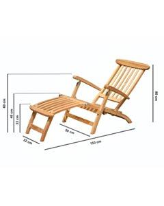 Teak Deckchair - RVS Beslag - SL001