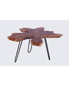 Sliced | Boomschijf salontafel | Zwarte poten | 80x80x45 - DEV-CT-SLICE-HPL-80-ZWART
