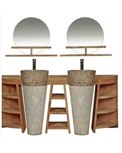 Teak Badkamerset Pedestal Dubbel | 120x40x80 - DEV-DUBB-DRSSR-PED-120x40x80