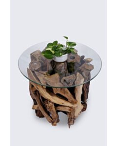 ROOT   Teak Wortel Salontafel met glas   Rond   50x50 - DEV-ROOT-CT-ROUND-50-50