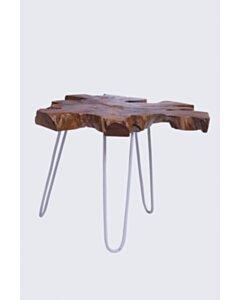 Sliced | Boomschijf salontafel | Witte poten | 80x80x45 - DEV-CT-SLICE-HPL-80-OFF-WHITE
