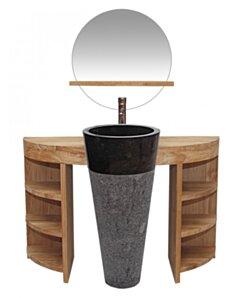 Teak Badkamerset Pedestal Enkel | 80x40x80 - DEV-ENKEL-DRSSR-PED-80x40x80