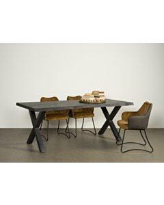 Xara Live-edge dining table 160-200x100 - top 5 - Black - TWR-NA0312-0315-B