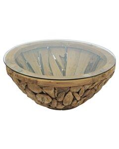 ROOT   Teak Wortel Salontafel met glas   Rond   100x45 - DEV-ROOT-CT-BOWL-90-45