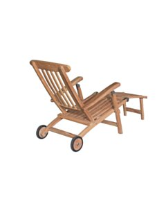 Teak Deckchair met wielen - Verrijdbaar - RVS Bouten - DEVI-SL002