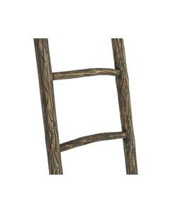 Decoratieve houten ladder Teak | Carved Wood | 50x5x150 - TK-DL-50-5-150-BRUIN-CARVED