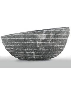 Zwart Marmeren Waskom - Oblique | 45x21/15 - BMAM-BLACK