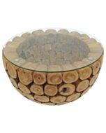 BRANCH 70   Teak Bowl Salontafel met glas   Rond   70x45 - DEV-ROOT-CT-BRANCH-BOWL-70-70-45